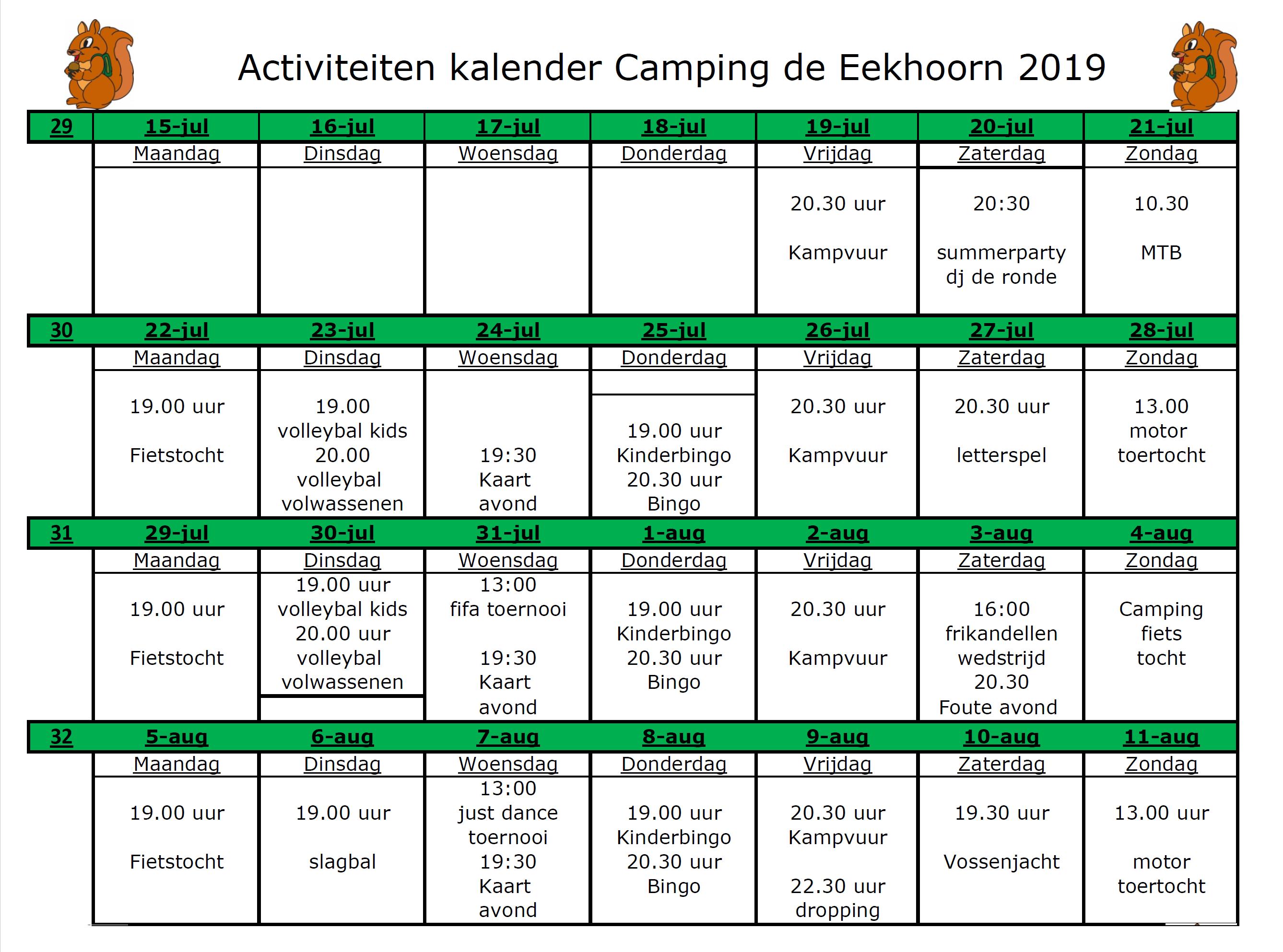 Activiteitenkalender juli en augustus - Camping de Eekhoorn