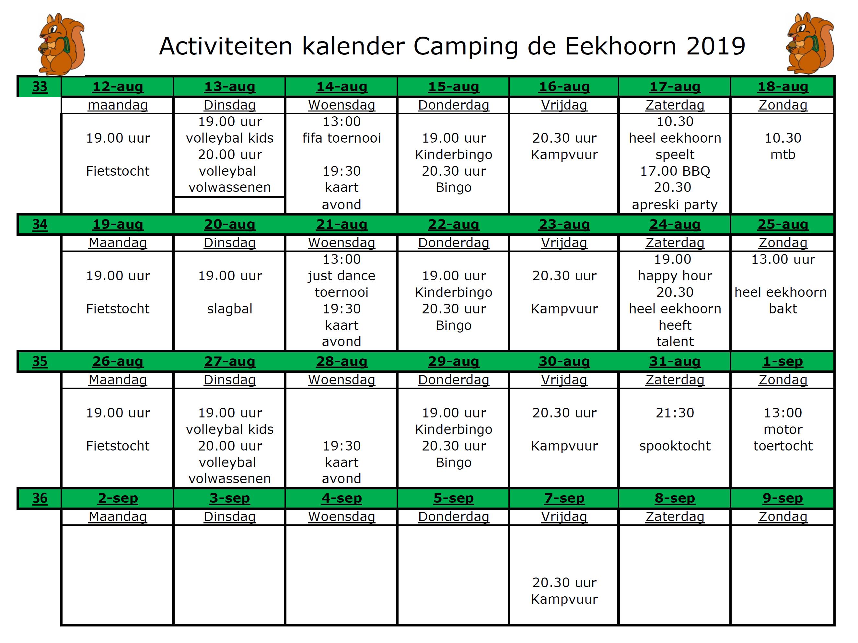 Activiteitenkalender augustus en september - Camping de Eekhoorn
